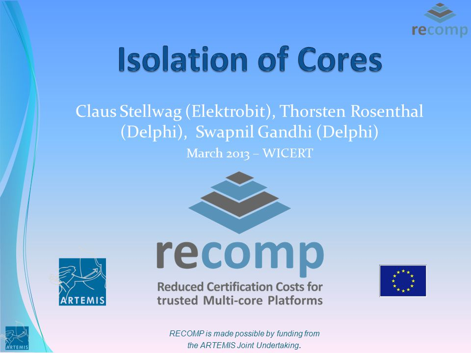 RECOMP is made possible by funding from the ARTEMIS Joint Undertaking. Claus Stellwag (Elektrobit), Thorsten Rosenthal (Delphi), Swapnil Gandhi (Delph
