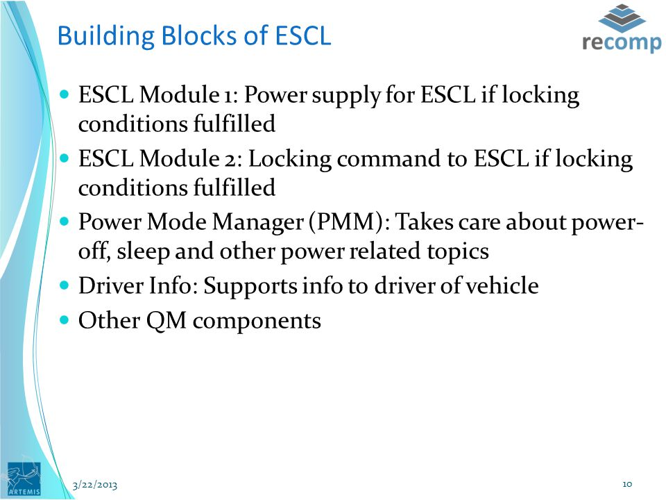 Building Blocks of ESCL ESCL Module 1: Power supply for ESCL if locking conditions fulfilled ESCL Module 2: Locking command to ESCL if locking conditions fulfilled Power Mode Manager (PMM): Takes care about power- off, sleep and other power related topics Driver Info: Supports info to driver of vehicle Other QM components 3/22/2013 10