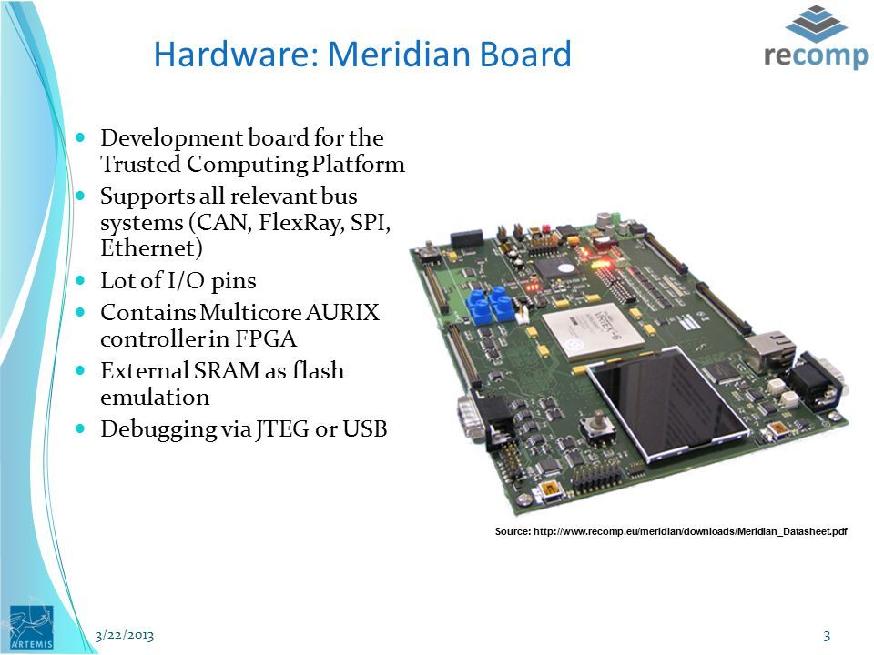 Source: http://www.recomp.eu/meridian/downloads/Meridian_Datasheet.pdf Hardware: Meridian Board Development board for the Trusted Computing Platform Supports all relevant bus systems (CAN, FlexRay, SPI, Ethernet) Lot of I/O pins Contains Multicore AURIX controller in FPGA External SRAM as flash emulation Debugging via JTEG or USB 3/22/2013 3