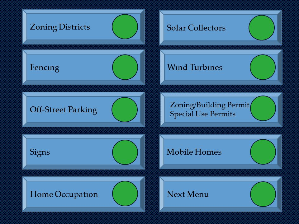 Zoning Districts Signs Off-Street Parking FencingWind Turbines Solar Collectors Home OccupationNext Menu Mobile Homes Zoning/Building Permit Special U
