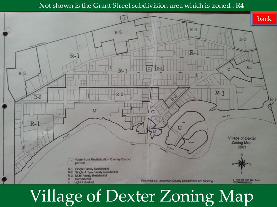 next menu Village of Dexter Zoning Map Not shown is the Grant Street subdivision area which is zoned : R4 back
