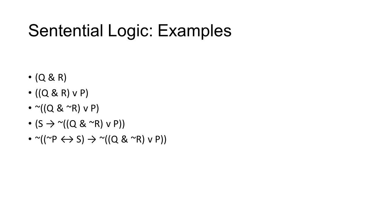 Sentential Logic: Examples (Q & R) ((Q & R) v P) ~((Q & ~R) v P) (S → ~((Q & ~R) v P)) ~((~P ↔ S) → ~((Q & ~R) v P))