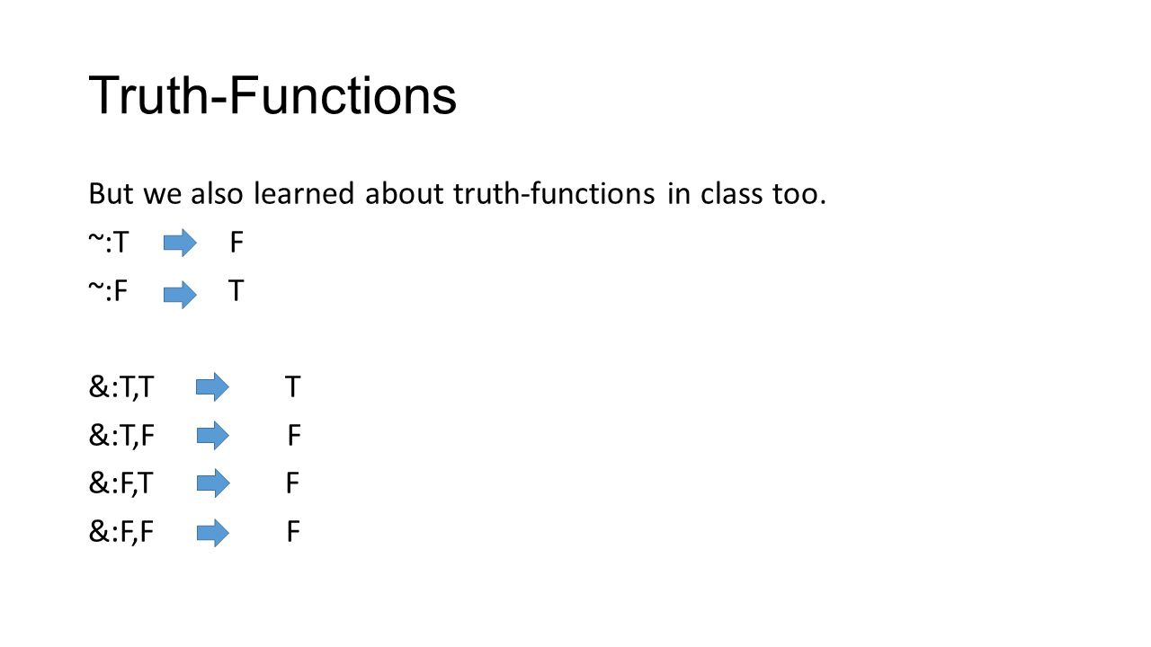 Truth-Functions But we also learned about truth-functions in class too.