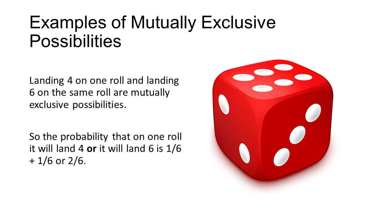 Examples of Mutually Exclusive Possibilities Landing 4 on one roll and landing 6 on the same roll are mutually exclusive possibilities.