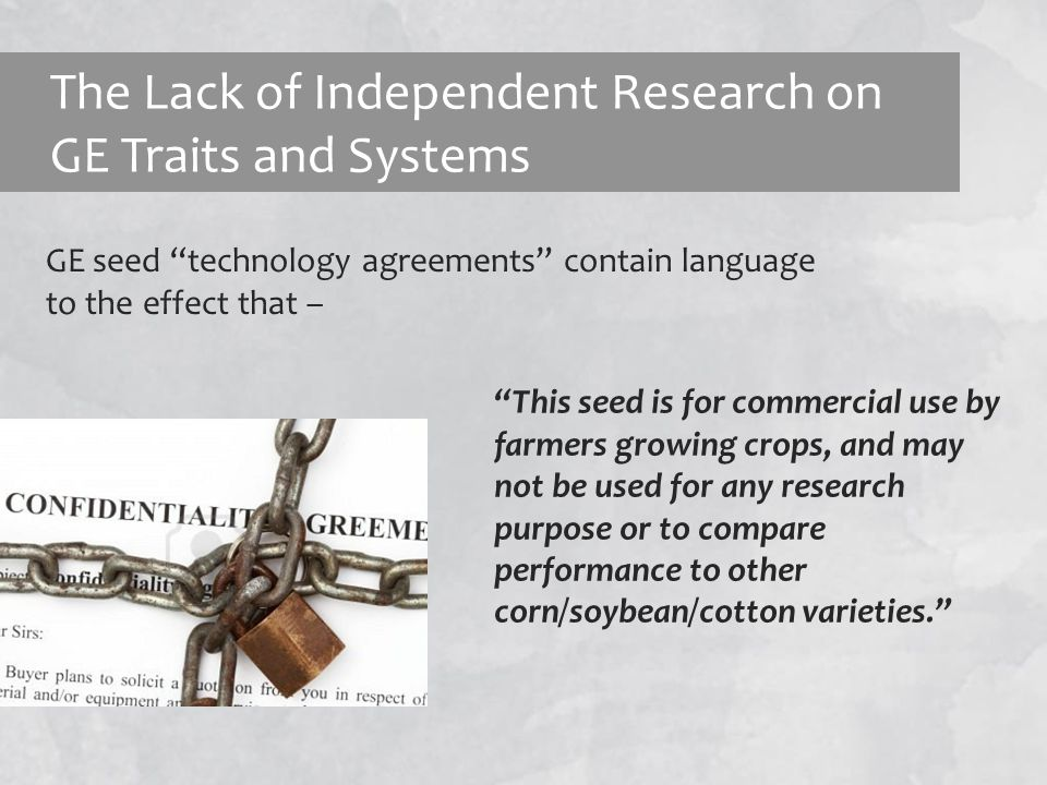The Lack of Independent Research on GE Traits and Systems GE seed technology agreements contain language to the effect that – This seed is for commercial use by farmers growing crops, and may not be used for any research purpose or to compare performance to other corn/soybean/cotton varieties.