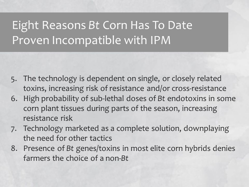 Eight Reasons Bt Corn Has To Date Proven Incompatible with IPM 5.The technology is dependent on single, or closely related toxins, increasing risk of resistance and/or cross-resistance 6.High probability of sub-lethal doses of Bt endotoxins in some corn plant tissues during parts of the season, increasing resistance risk 7.Technology marketed as a complete solution, downplaying the need for other tactics 8.Presence of Bt genes/toxins in most elite corn hybrids denies farmers the choice of a non-Bt