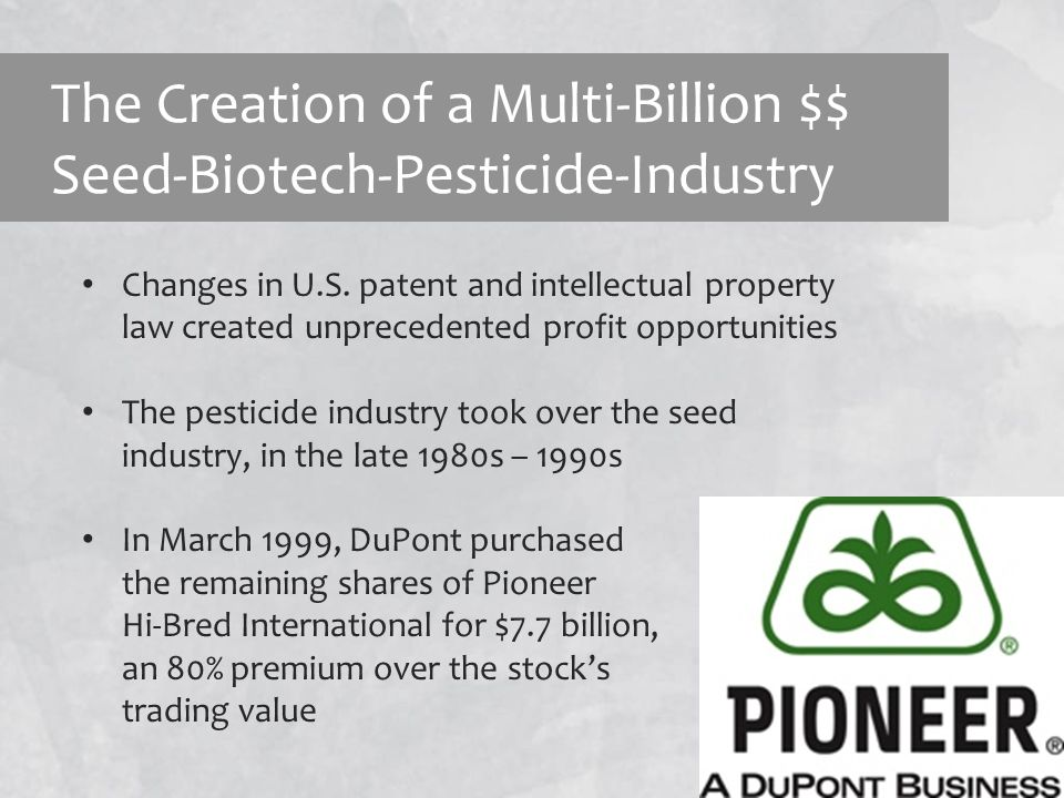 Emerging Issues in the Wake of GE Crop Technology Corporate control over the seed industry and germplasm – profits now drive breeding decisions in the U.S., not problem solving Passive role of the U.S.