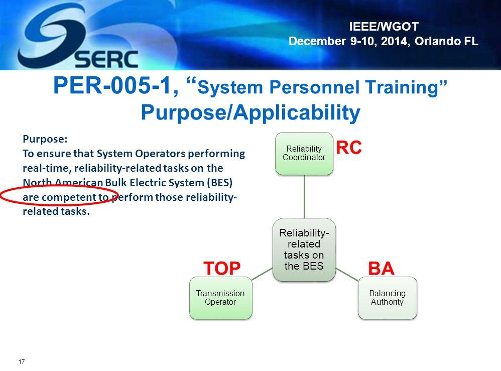 IEEE/WGOT December 9-10, 2014, Orlando FL PER Inactive Date – Version 1 PER Enforcement Date – Version 2 16 6/30/2016 PER-005-2 All PER-005-1 Requirem