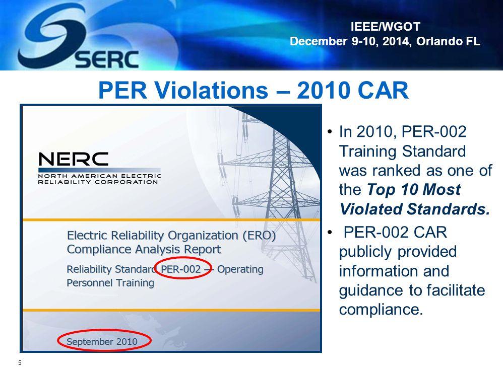"IEEE/WGOT December 9-10, 2014, Orlando FL Audit Violations – ""THEN"" (2009) 4 TOP 10 Most Violated Standards PRC CIP VAR FAC TOP PER FAC EOP"