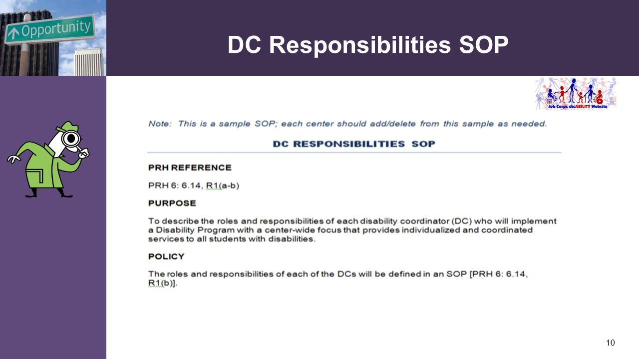 DC Responsibilities SOP 10