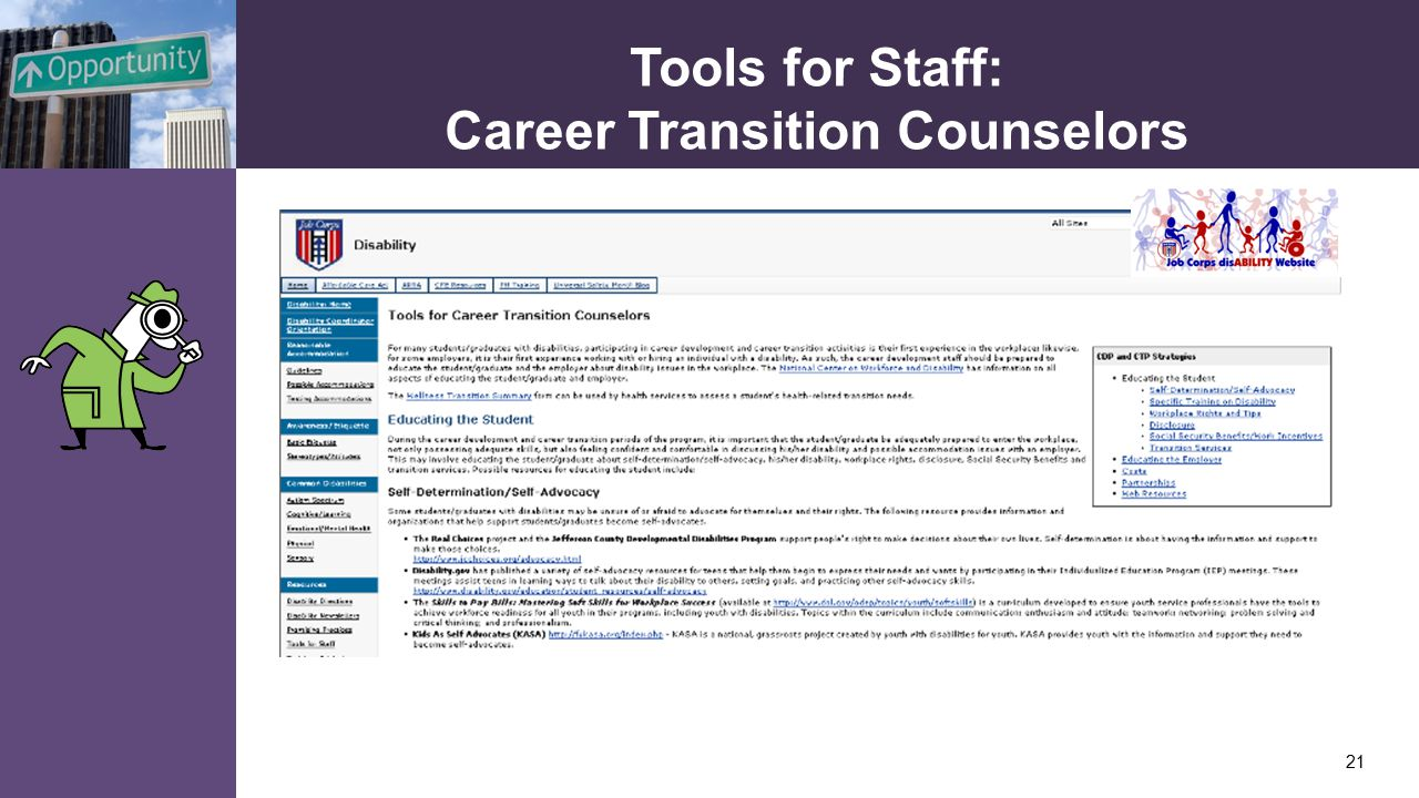 Tools for Staff: Career Transition Counselors 21