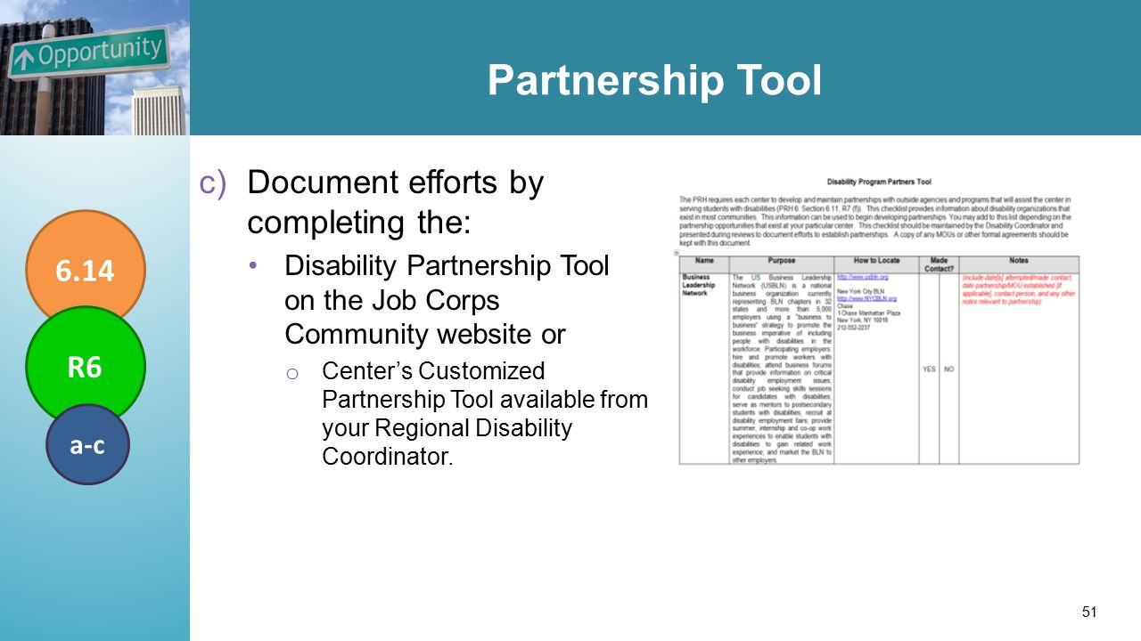Partnership Tool c)Document efforts by completing the: Disability Partnership Tool on the Job Corps Community website or o Center's Customized Partnership Tool available from your Regional Disability Coordinator.