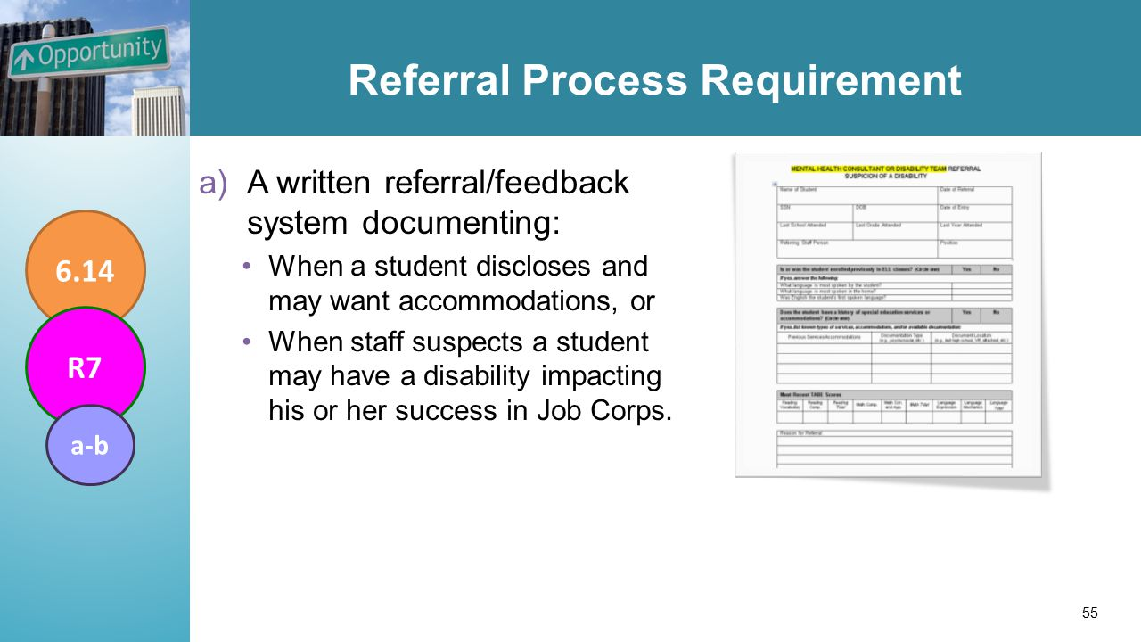 Referral Process Requirement a)A written referral/feedback system documenting: When a student discloses and may want accommodations, or When staff suspects a student may have a disability impacting his or her success in Job Corps.