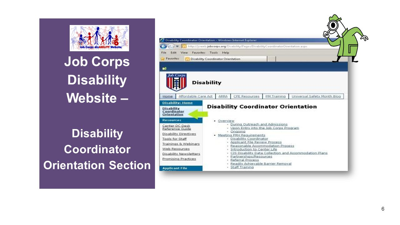 Job Corps Disability Website – Disability Coordinator Orientation Section 6