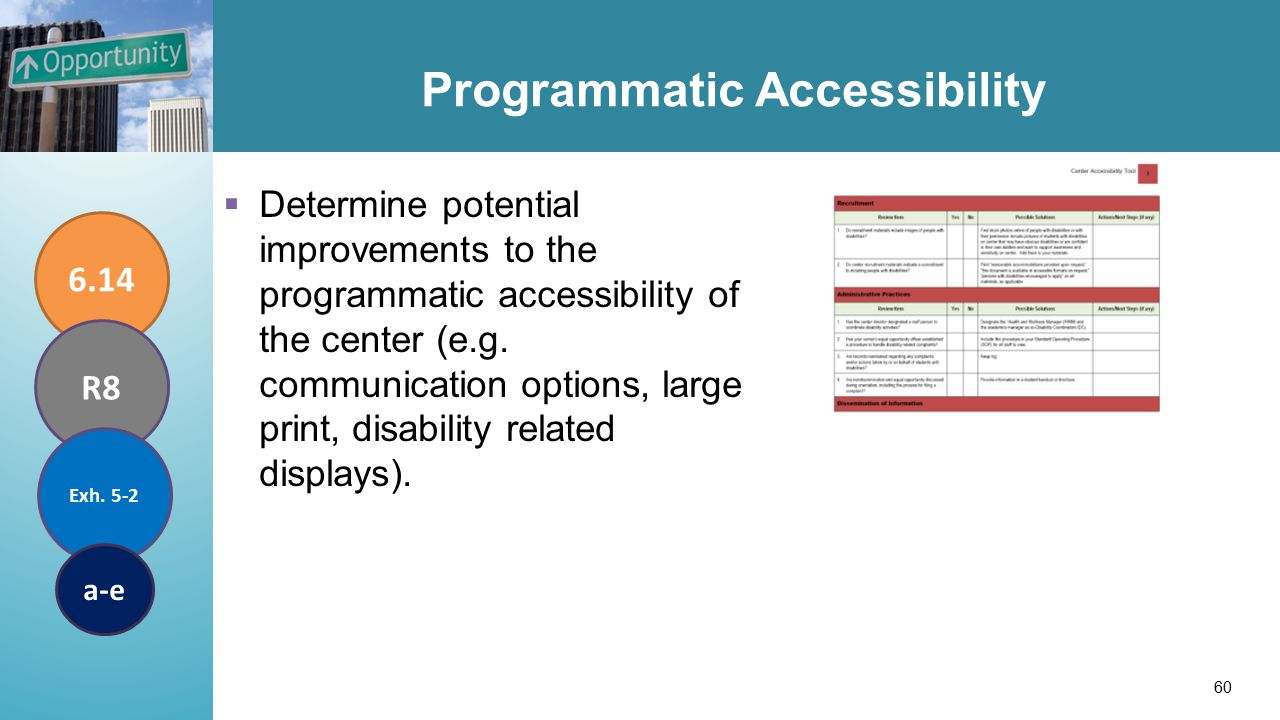 Programmatic Accessibility  Determine potential improvements to the programmatic accessibility of the center (e.g.