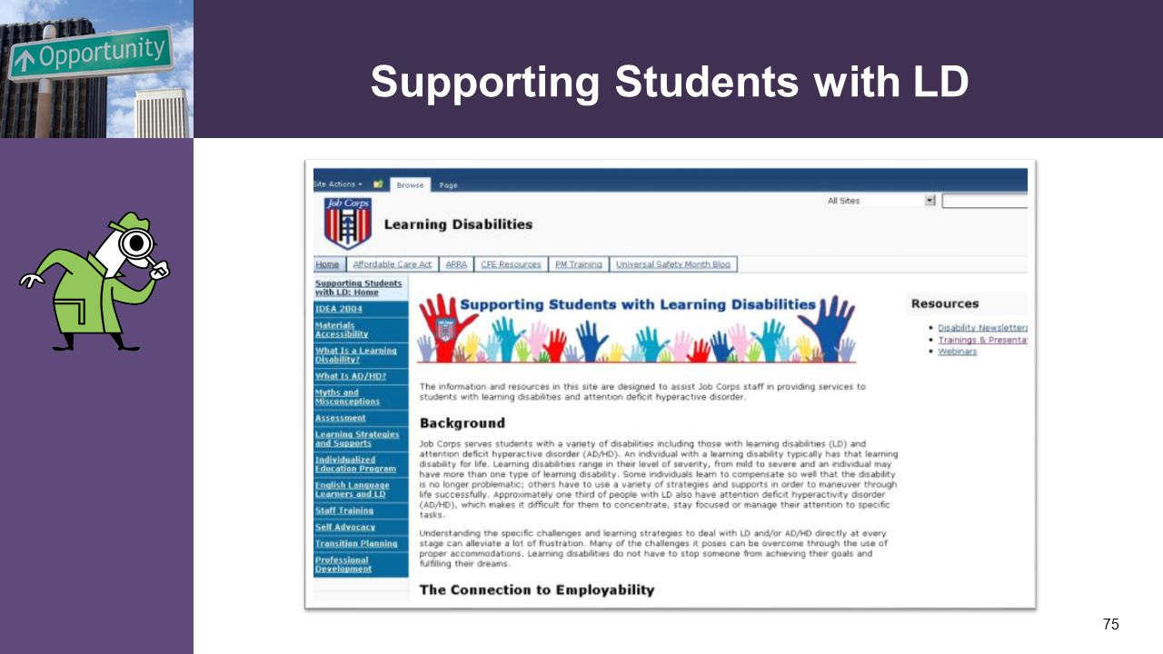 Supporting Students with LD 75
