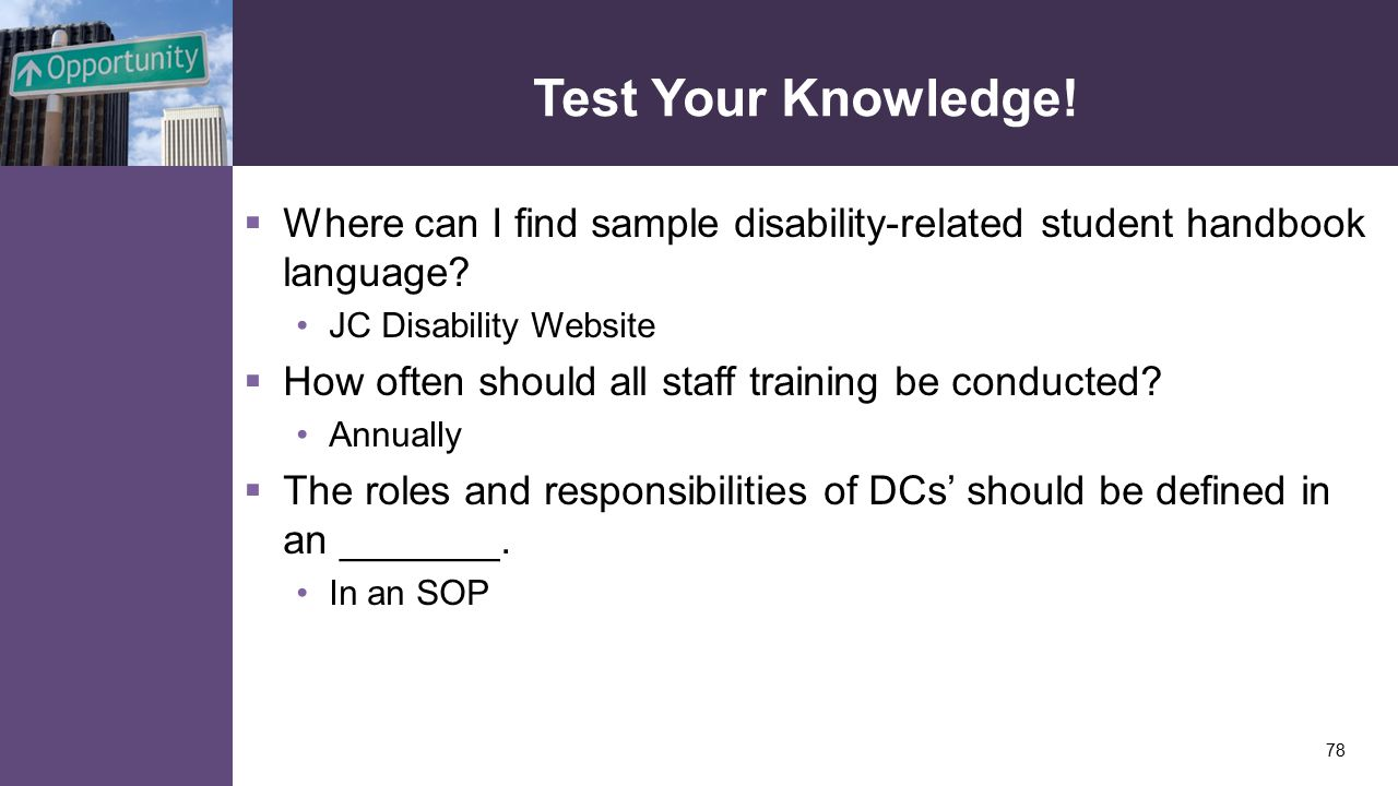 Test Your Knowledge.  Where can I find sample disability-related student handbook language.
