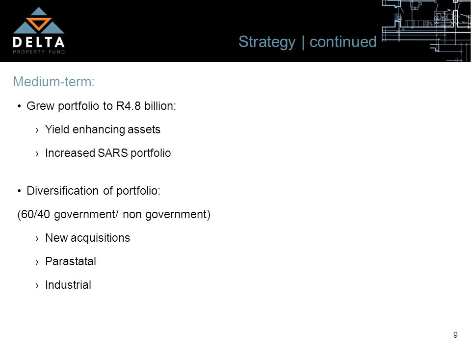 9 Strategy | continued Medium-term: Grew portfolio to R4.8 billion: ›Yield enhancing assets ›Increased SARS portfolio Diversification of portfolio: (6