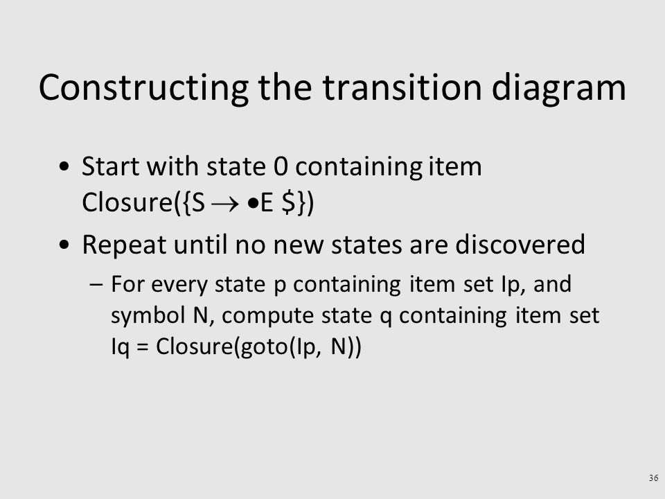 Constructing the transition diagram Start with state 0 containing item Closure({S   E $}) Repeat until no new states are discovered –For every state p containing item set Ip, and symbol N, compute state q containing item set Iq = Closure(goto(Ip, N)) 36