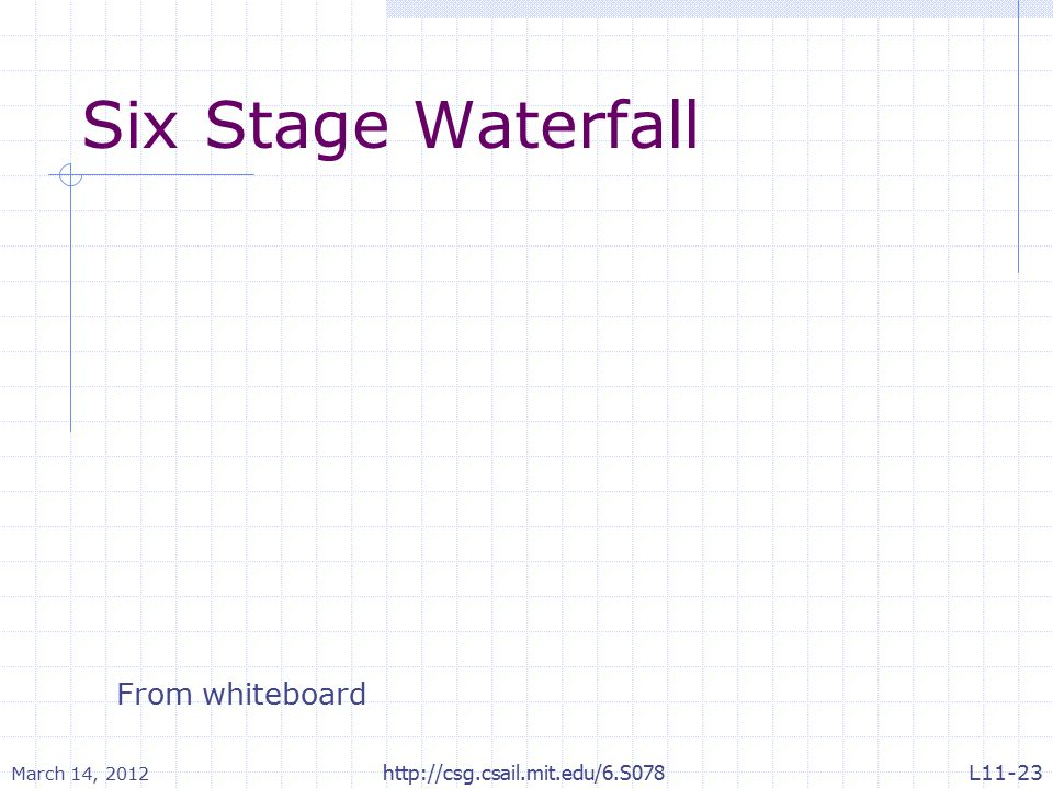 Six Stage Waterfall March 14, 2012 http://csg.csail.mit.edu/6.S078 From whiteboard L11-23