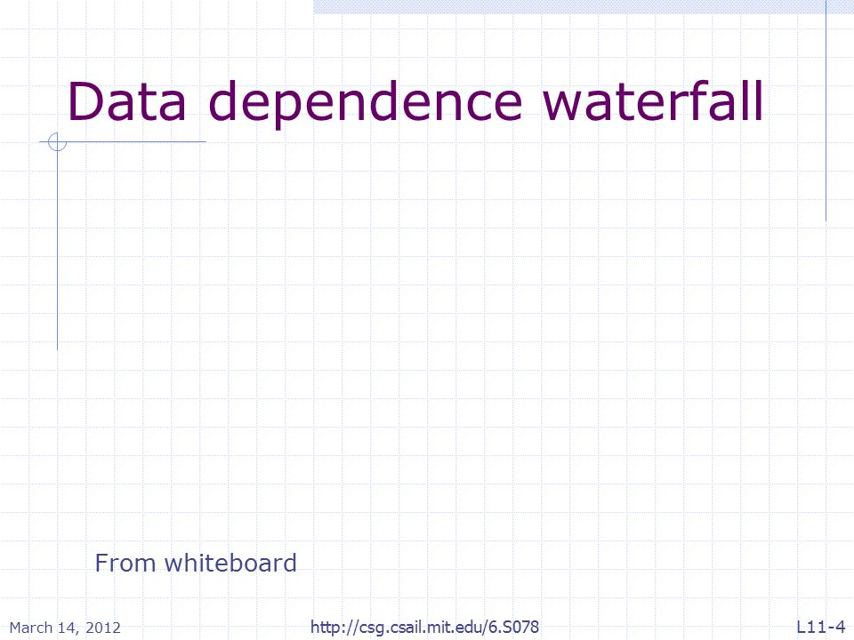 Data dependence waterfall March 14, 2012 http://csg.csail.mit.edu/6.S078 From whiteboard L11-4