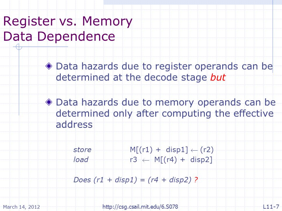 March 14, 2012 http://csg.csail.mit.edu/6.S078 Register vs. Memory Data Dependence Data hazards due to register operands can be determined at the deco