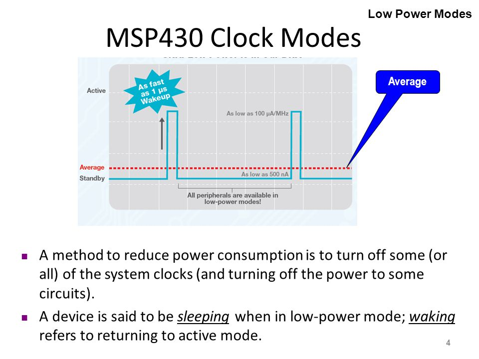 A method to reduce power consumption is to turn off some (or all) of the system clocks (and turning off the power to some circuits).