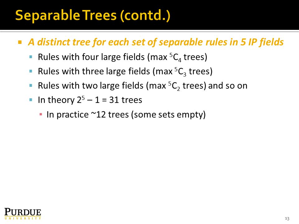  A distinct tree for each set of separable rules in 5 IP fields  Rules with four large fields (max 5 C 4 trees)  Rules with three large fields (max 5 C 3 trees)  Rules with two large fields (max 5 C 2 trees) and so on  In theory 2 5 – 1 = 31 trees ▪ In practice ~12 trees (some sets empty) 13