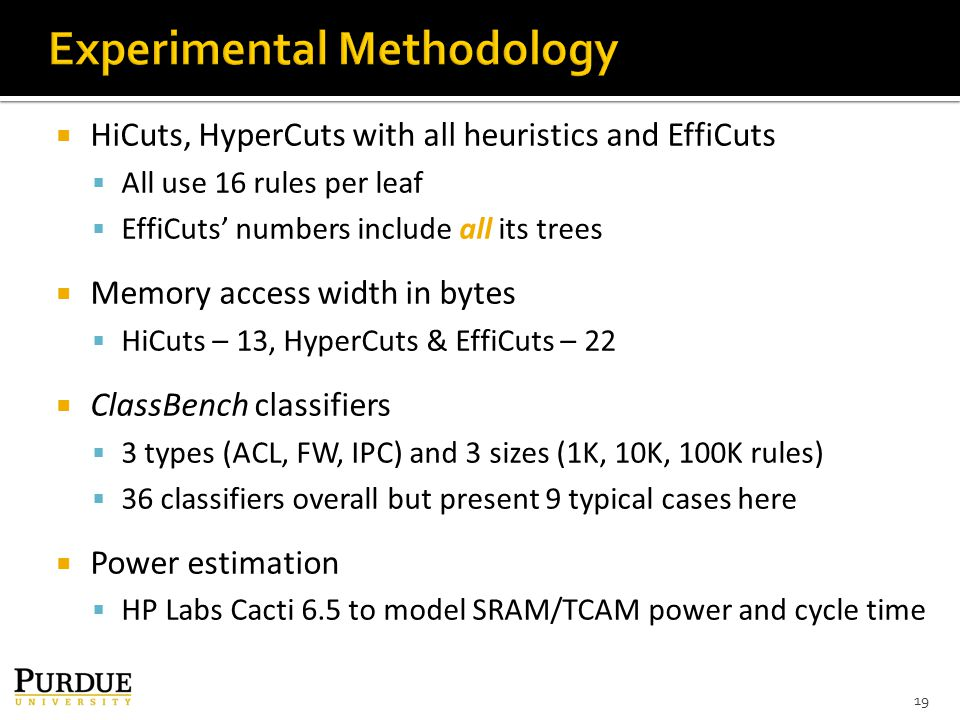  HiCuts, HyperCuts with all heuristics and EffiCuts  All use 16 rules per leaf  EffiCuts' numbers include all its trees  Memory access width in bytes  HiCuts – 13, HyperCuts & EffiCuts – 22  ClassBench classifiers  3 types (ACL, FW, IPC) and 3 sizes (1K, 10K, 100K rules)  36 classifiers overall but present 9 typical cases here  Power estimation  HP Labs Cacti 6.5 to model SRAM/TCAM power and cycle time 19