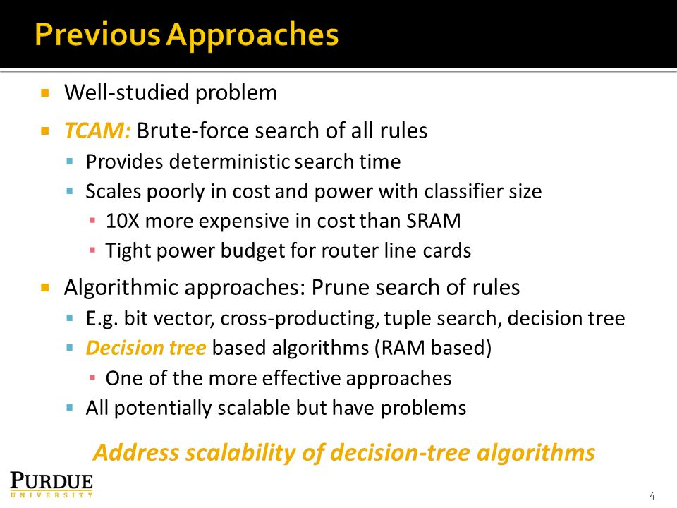  Well-studied problem  TCAM: Brute-force search of all rules  Provides deterministic search time  Scales poorly in cost and power with classifier size ▪ 10X more expensive in cost than SRAM ▪ Tight power budget for router line cards  Algorithmic approaches: Prune search of rules  E.g.