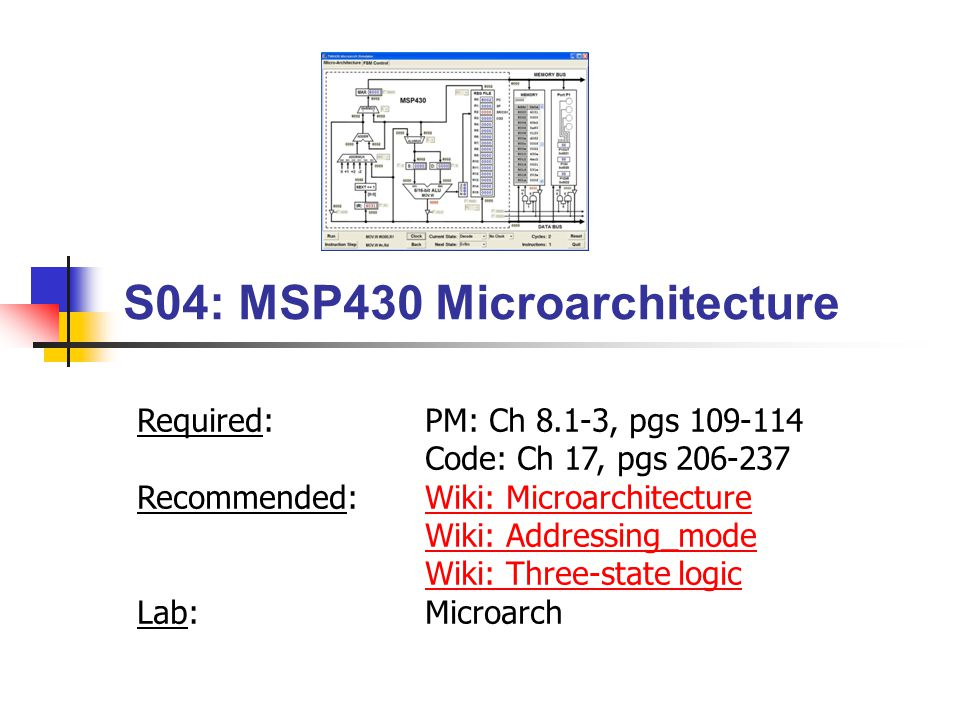 BYU CS 224 MSP430 Microarchitecture12 Microarchitecture The Instruction Set Architecture (ISA) defines the processor instruction set, processor registers, address and data formats The processor as seen by an assembly language programmer.