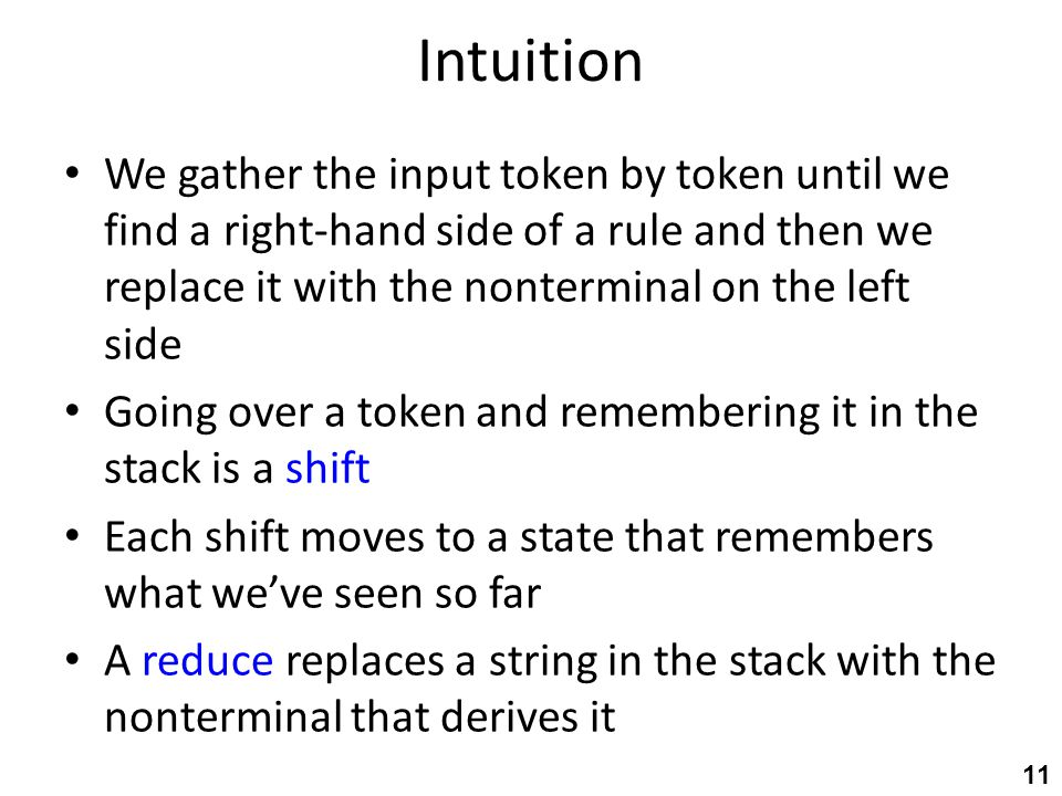 Intuition We gather the input token by token until we find a right-hand side of a rule and then we replace it with the nonterminal on the left side Go