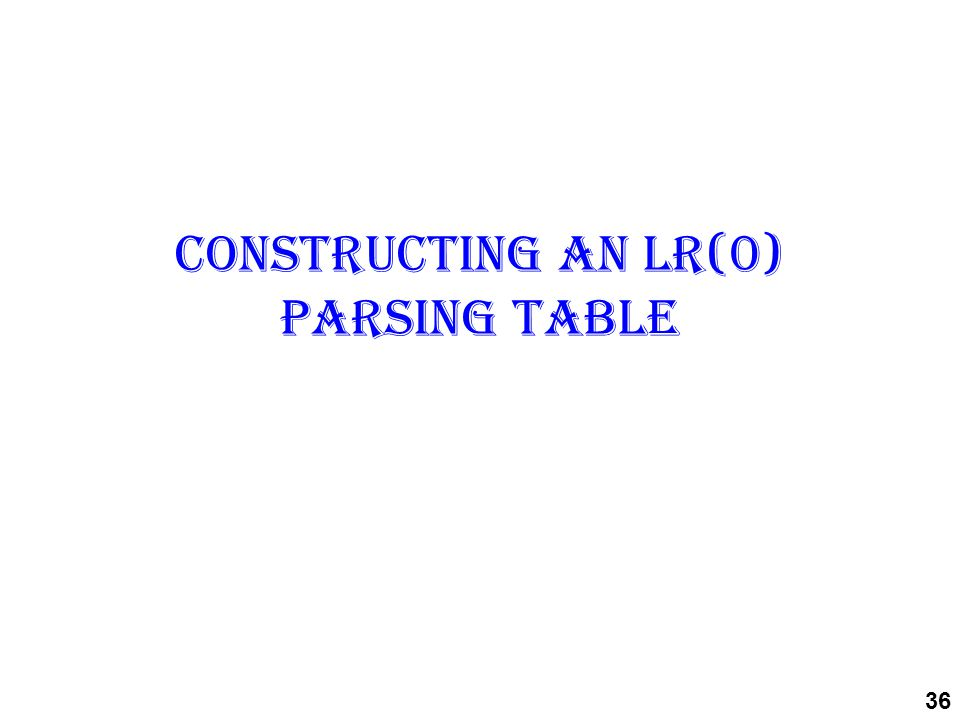 Constructing an LR(0) parsing table 36