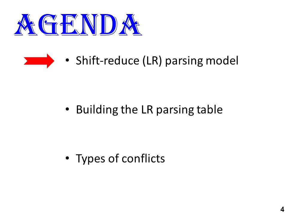 Agenda 4 Shift-reduce (LR) parsing model Building the LR parsing table Types of conflicts