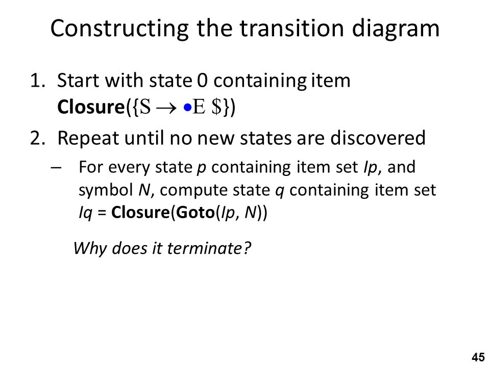 Constructing the transition diagram 1.Start with state 0 containing item Closure({ S   E $ }) 2.Repeat until no new states are discovered – For ever