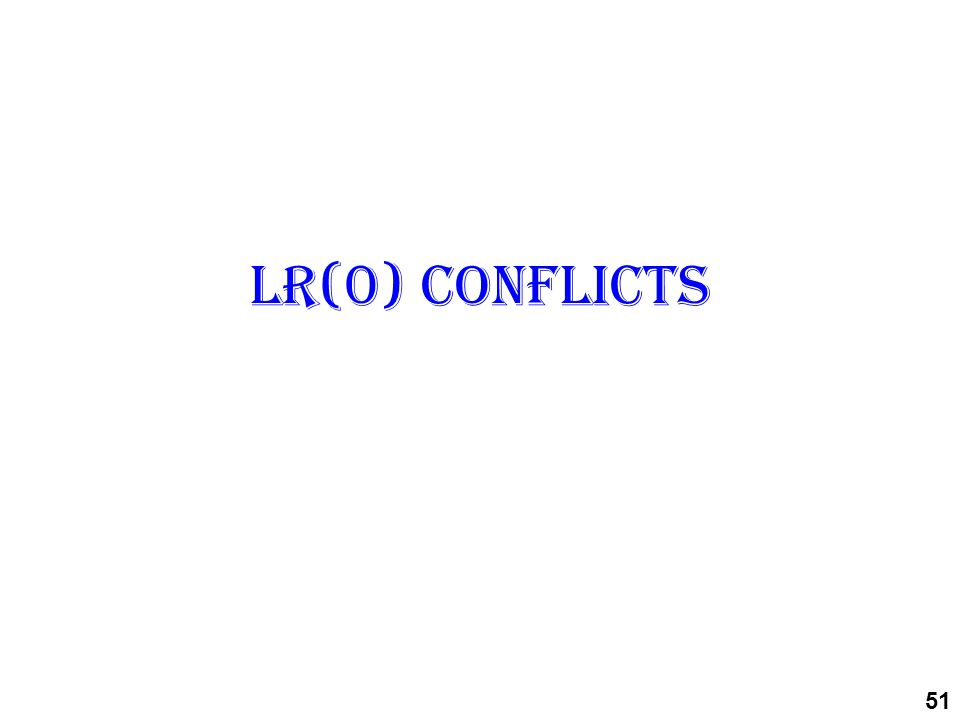 LR(0) conflicts 51