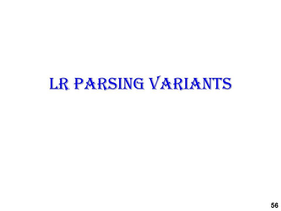 LR parsing variants 56