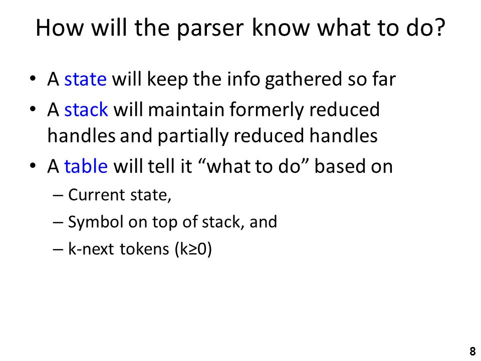 How will the parser know what to do? A state will keep the info gathered so far A stack will maintain formerly reduced handles and partially reduced h