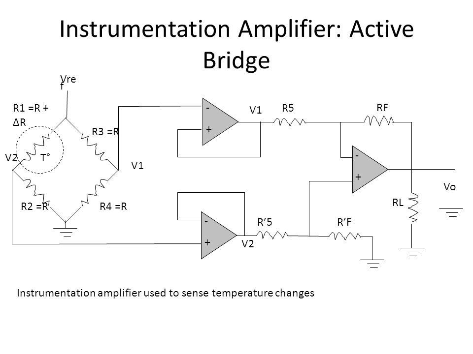 Instrumentation Amplifier: Active Bridge VoVo -+-+ RFRF R5R5 V1V1 V2V2 R'5R'F RLRL -+-+ -+-+ V1V1 V2V2 R4 =R R3 =R R2 =R R1 =R + ΔR Vre f T° Instrumentation amplifier used to sense temperature changes