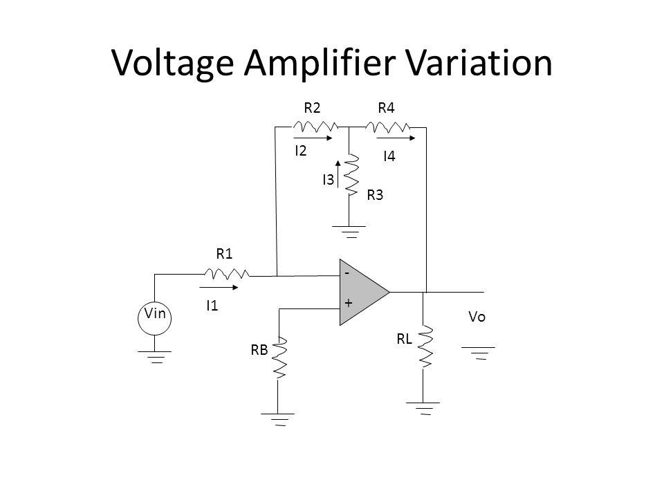Voltage Amplifier Variation VoVo -+-+ R3R3 R1R1 Vin R2R2R4R4 RLRL RBRB I1I1 I2I2 I4I4 I3I3