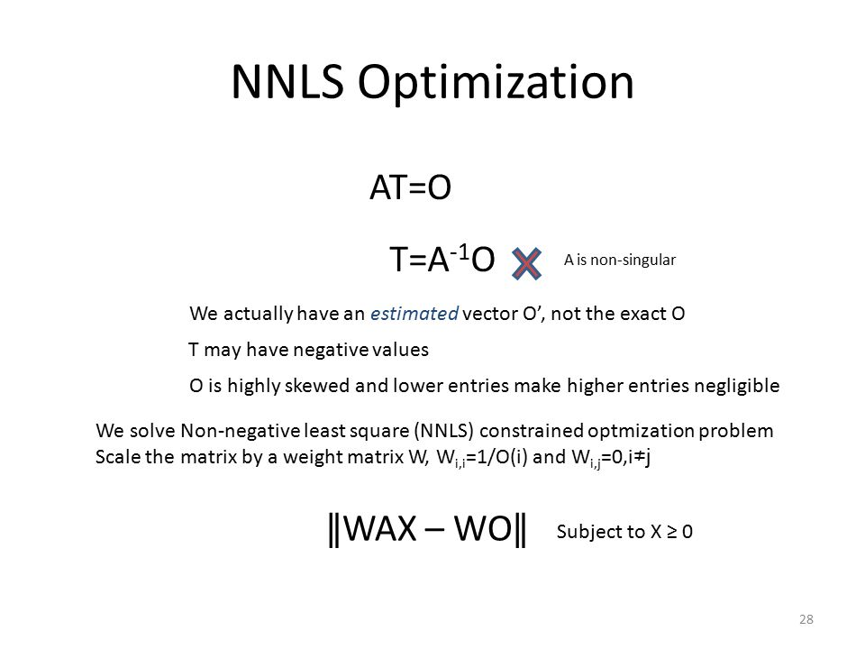 NNLS Optimization AT=O T=A -1 O Subject to X ≥ 0 A is non-singular We actually have an estimated vector O', not the exact O O is highly skewed and lower entries make higher entries negligible We solve Non-negative least square (NNLS) constrained optmization problem Scale the matrix by a weight matrix W, W i,i =1/O(i) and W i,j =0,i ≠j ∥ WAX – WO ∥ 28 T may have negative values