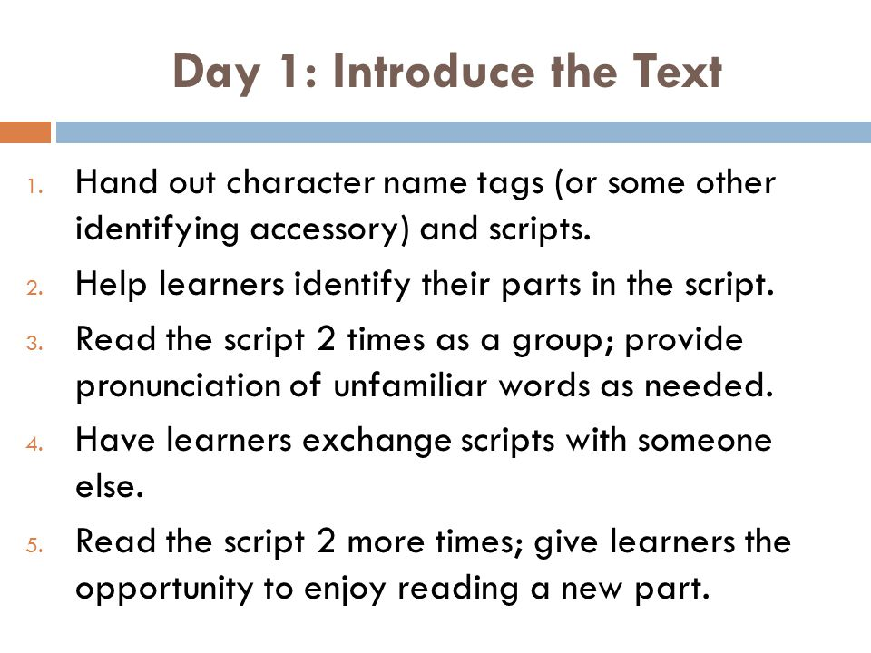 Day 1: Introduce the Text 1.