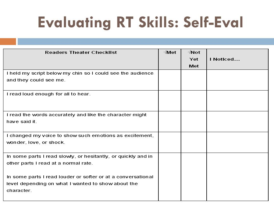 Evaluating RT Skills: Self-Eval