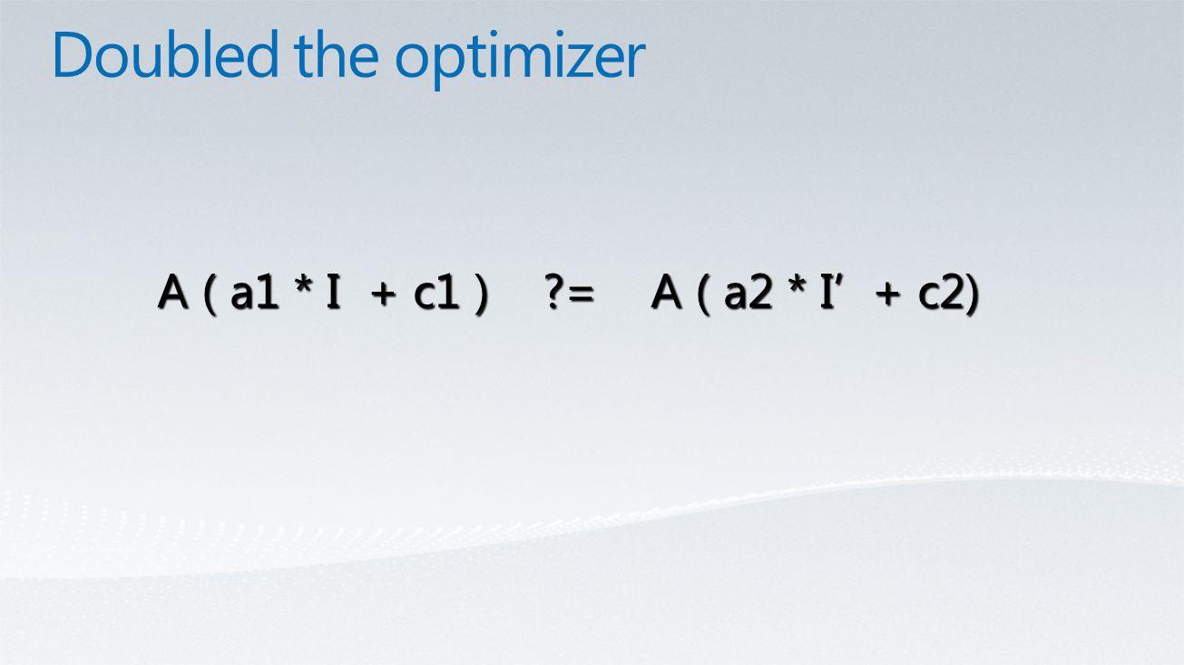 A ( a1 * I + c1 ) = A ( a2 * I' + c2)