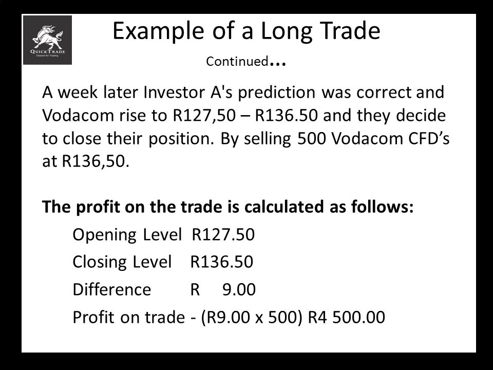 Example of a Long Trade Continued … A week later Investor A's prediction was correct and Vodacom rise to R127,50 – R136.50 and they decide to close th