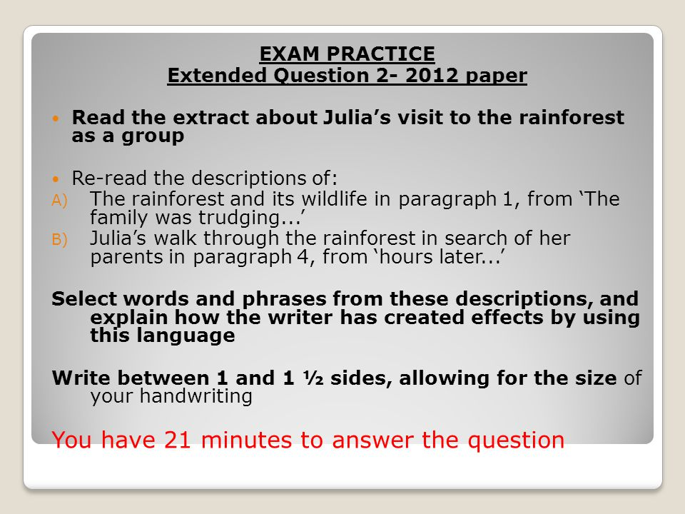 EXAM PRACTICE Extended Question 2 Bear Grylls Read the extract as a group.