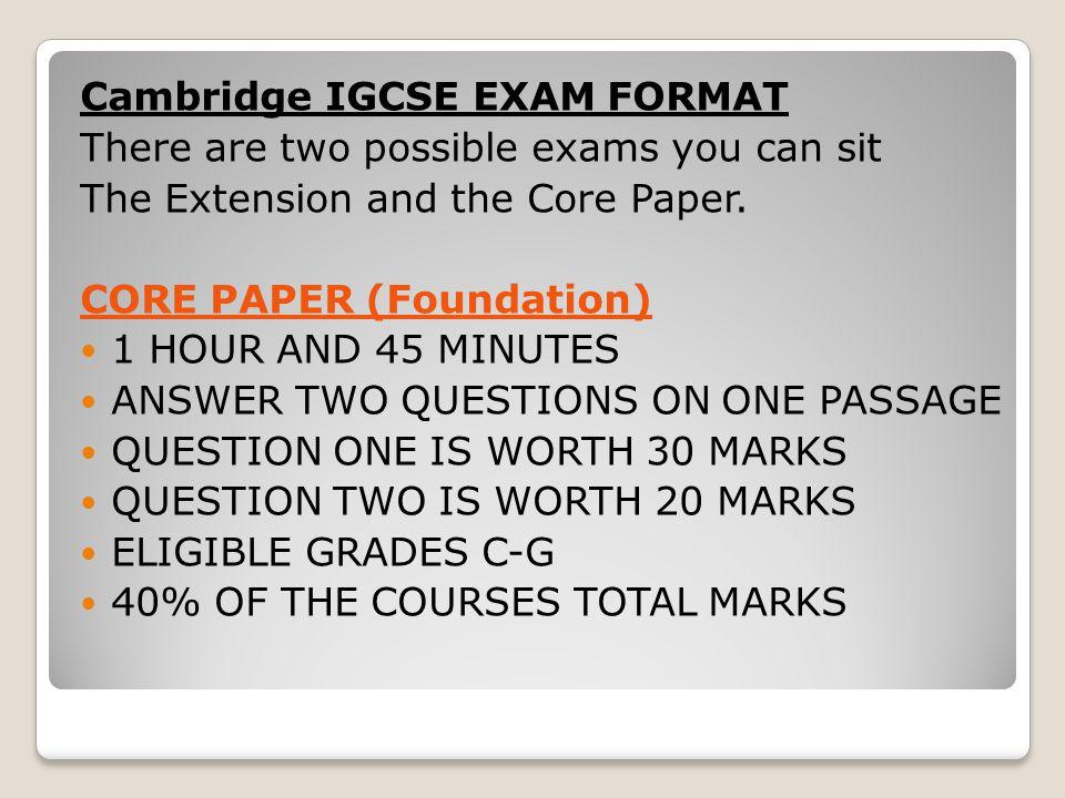 IGCSE EXAM REVISION Lesson One