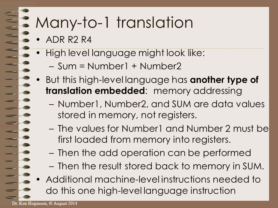 Dr. Ken Hoganson, © August 2014 ADR R2 R4 High level language might look like: –Sum = Number1 + Number2 But this high-level language has another type