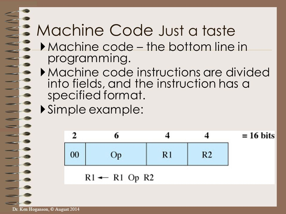 Dr. Ken Hoganson, © August 2014  Machine code – the bottom line in programming.