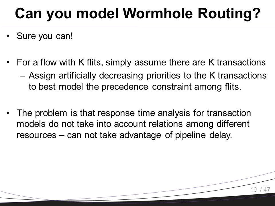 / 47 Can you model Wormhole Routing. Sure you can.